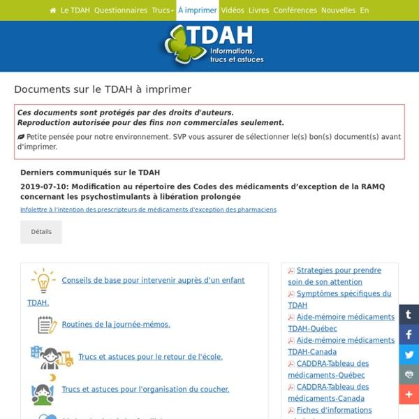 Documents sur le TDAH à imprimer