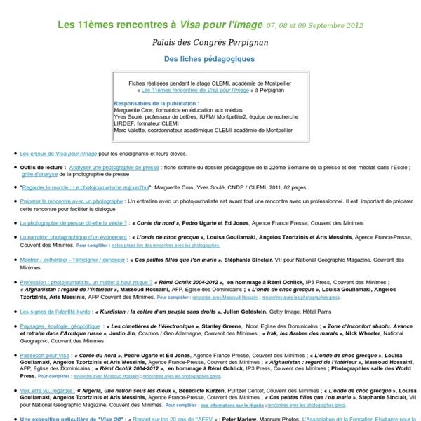Fiches pedagogiques CLEMI - Visa pour l'image 2012