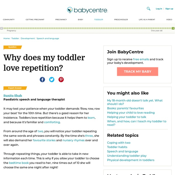 Why does my toddler love repetition? - BabyCentre UK