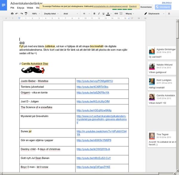 Adventskalenderlänkar - Google Docs