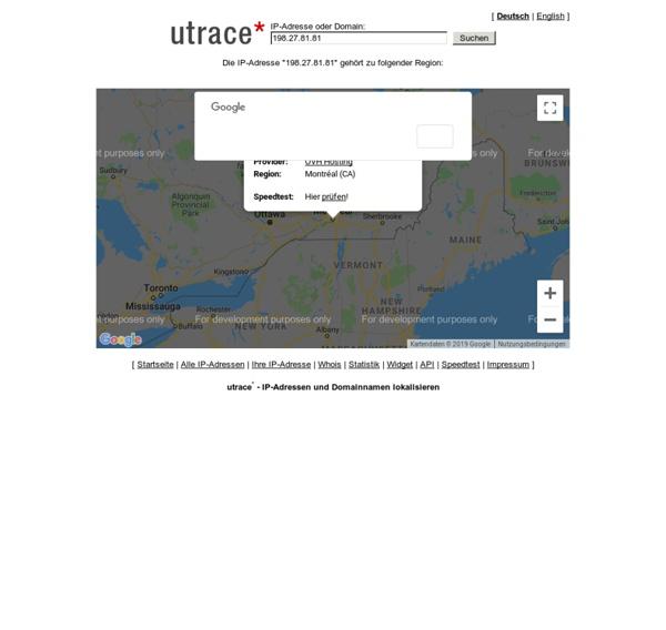 Utrace - IP-Adressen und Domainnamen lokalisieren