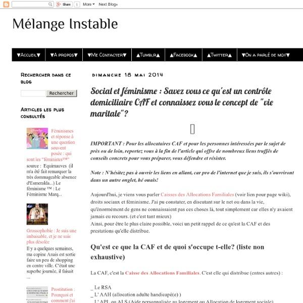 """Social et féminisme : Savez vous ce qu'est un contrôle domiciliaire CAF et connaissez vous le concept de """"vie maritale""""?"""