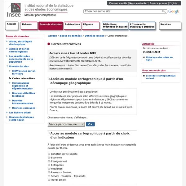 Bases de données INSEE- Géoclip [carte] [interactif]
