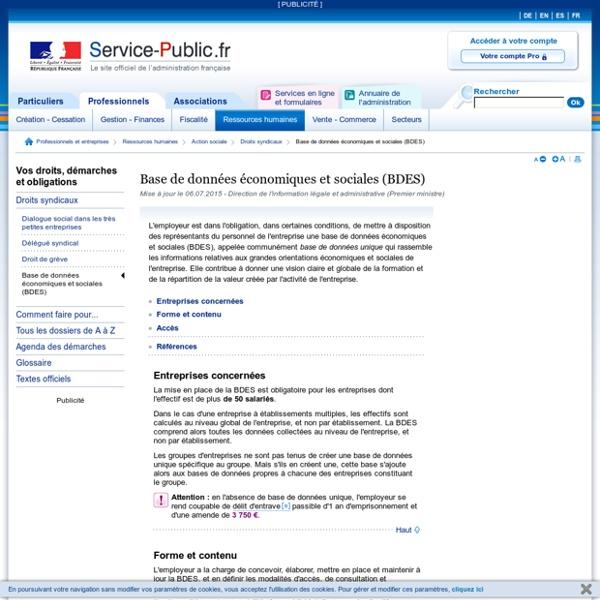 Base de données économiques et sociales (BDES)
