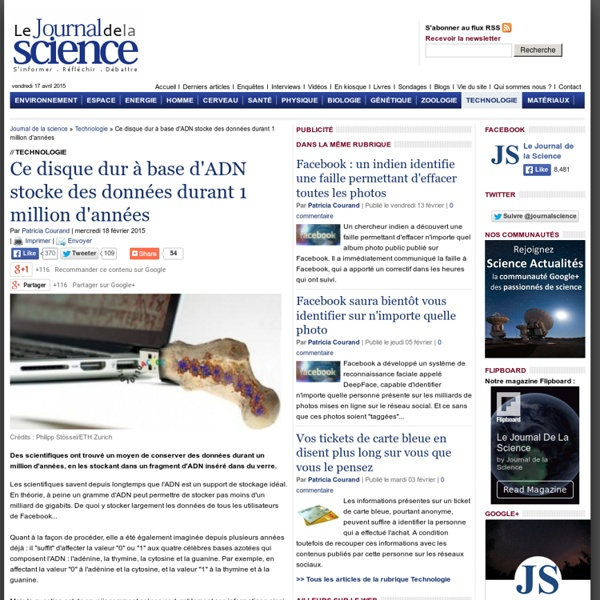 Ce disque dur à base d'ADN stocke des données pendant 1 million d'années › Technologie