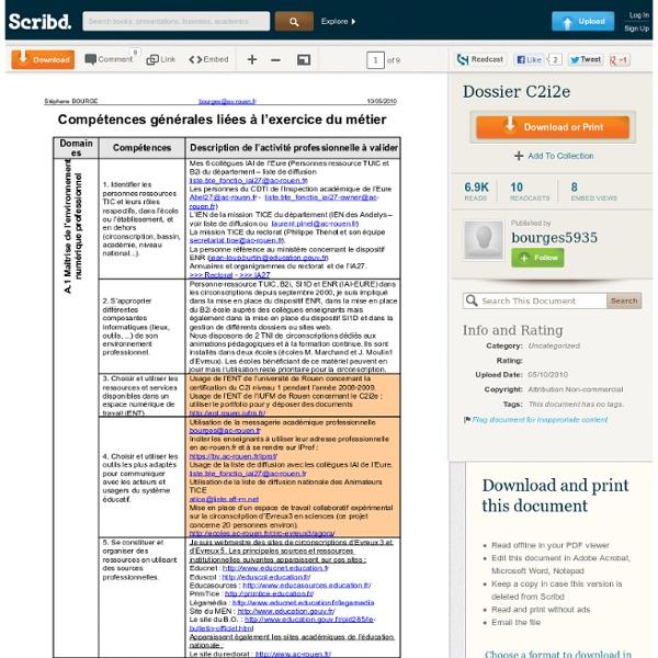 Exemple de dossier C2i2e - 2010