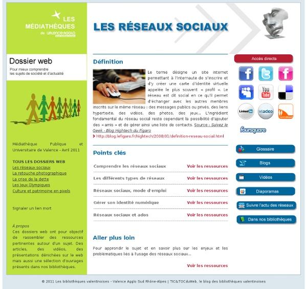 Dossier web thématique : les réseaux sociaux