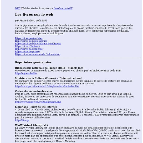 Les livres sur le web