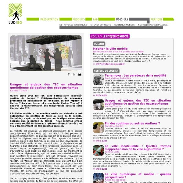 Dossiers - Usages et enjeux des TIC en situation quotidienne de gestion des espaces-temps
