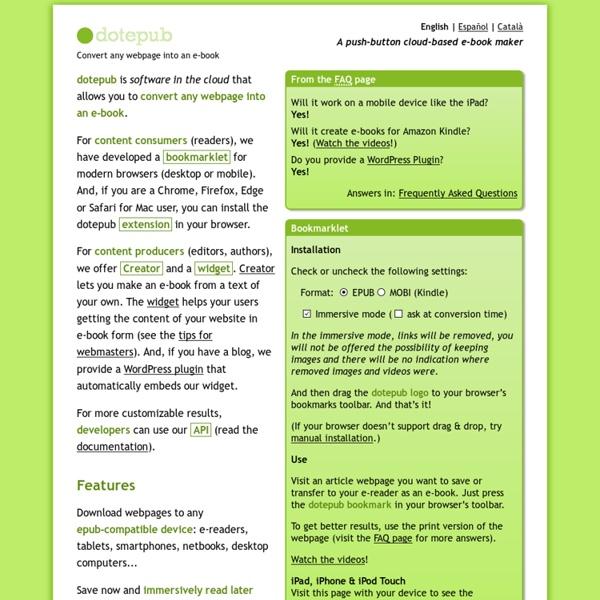 DotEPUB — download any webpage as an e-book