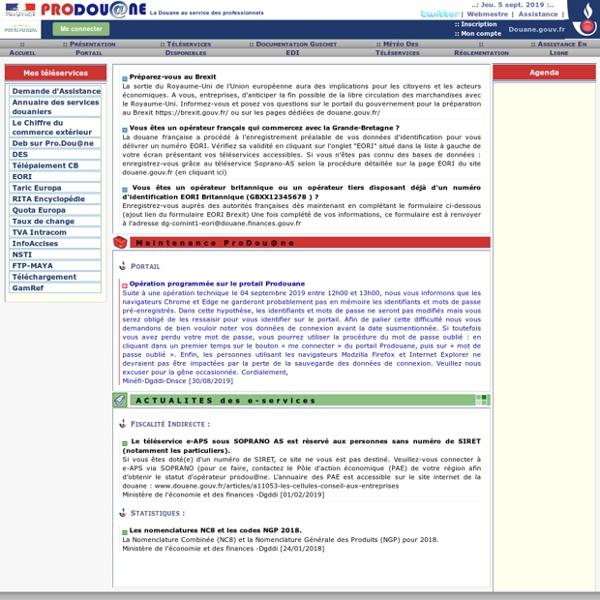 Pro.douane.gouv.fr : Site de téléprocédures de la douane
