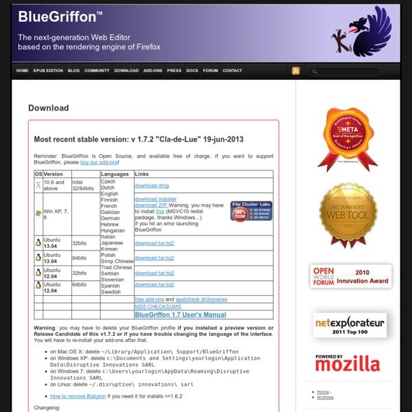 BlueGriffon.org créé par Mozilla logiciel le plus moderne