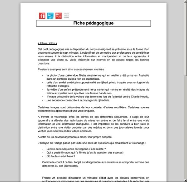 Info ou intox : fiche pédagogique.france24