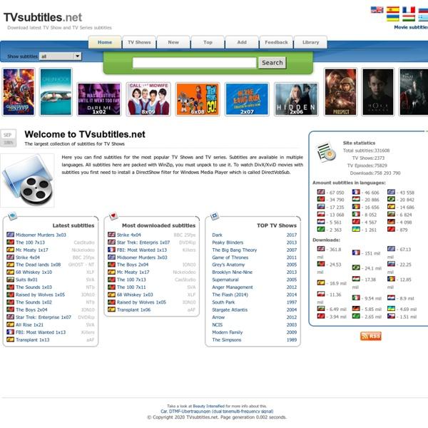 TVsubtitles.net - Download latest TV Show and TV Series subtitles