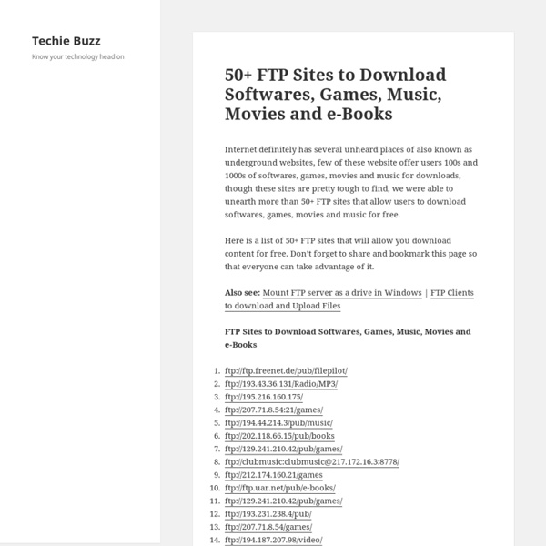 50+ FTP Sites to Download Softwares, Games, Music, Movies and e-Books