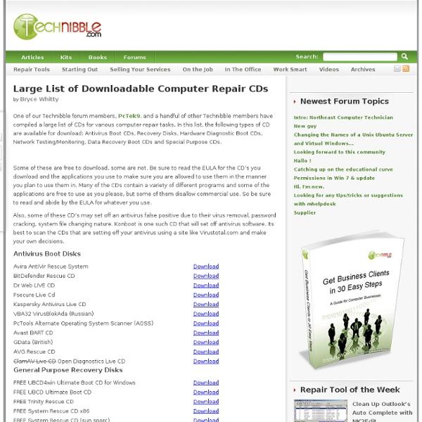 Downloadable Computer Repair CDs