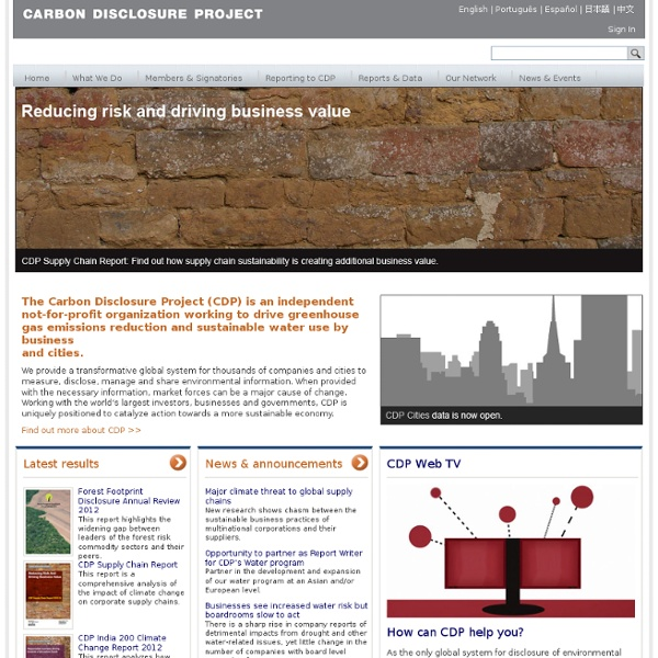 Carbon Disclosure Project - Global climate change reporting system