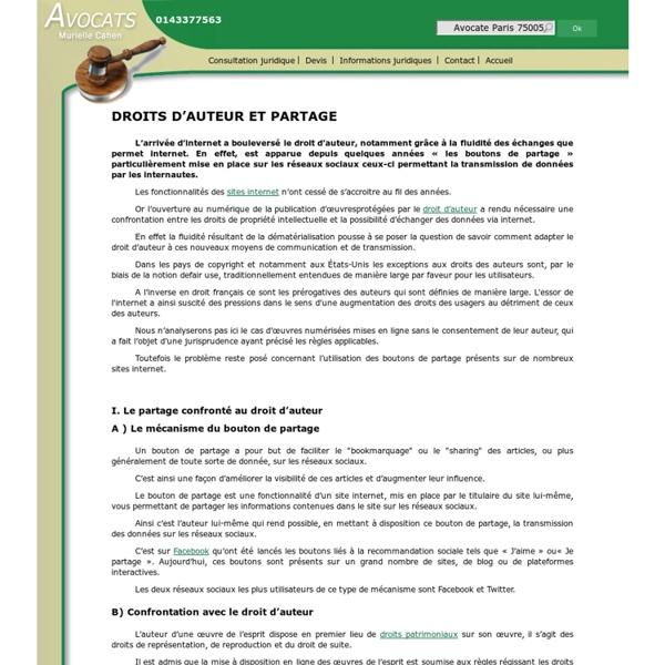 DROITS D'AUTEUR ET PARTAGE