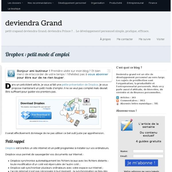Dropbox : petit mode d'emploi