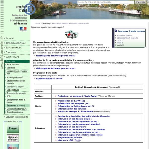 DSDEN du Val-de-Marne : apprendre à porter secours - cycle 3