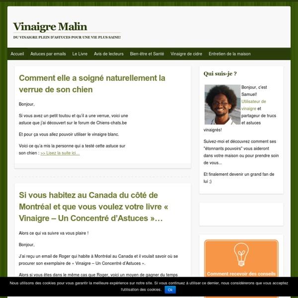 Du Vinaigre et plus de 100 Astuces - Vinaigre Malin.fr