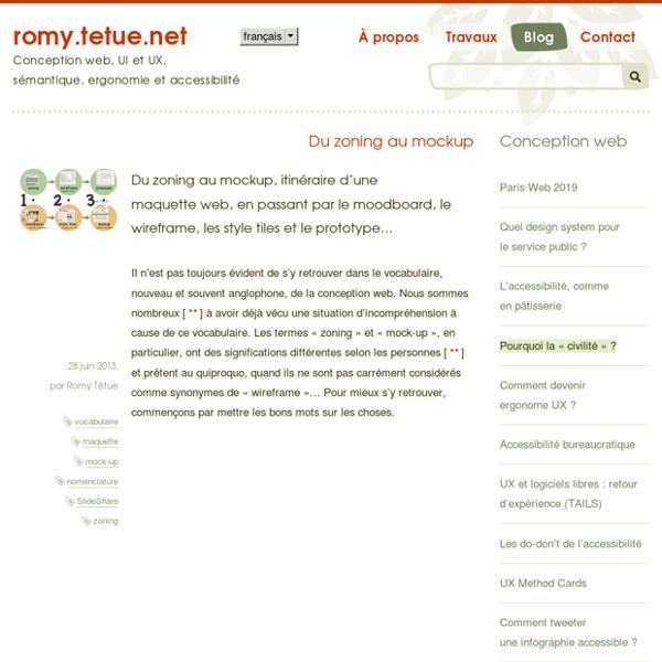 Du zoning au mockup, itinéraire d'une maquette web