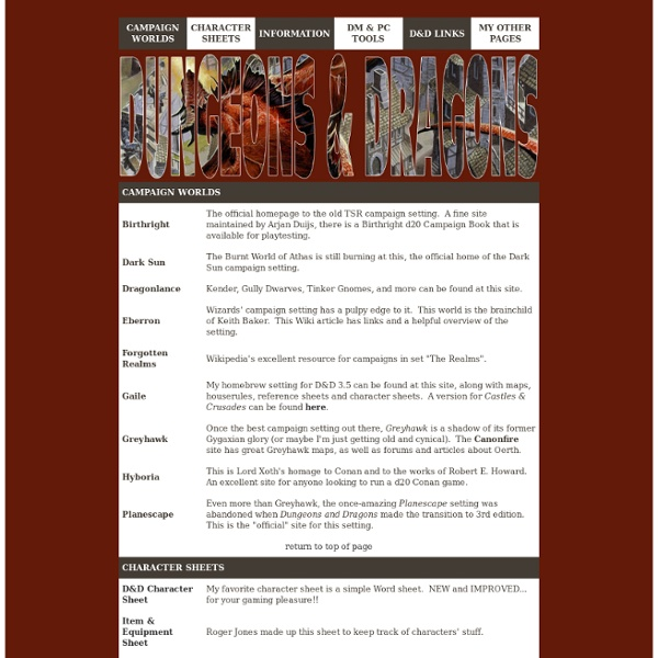 Dungeons & Dragons 3.X Resources & Links Page