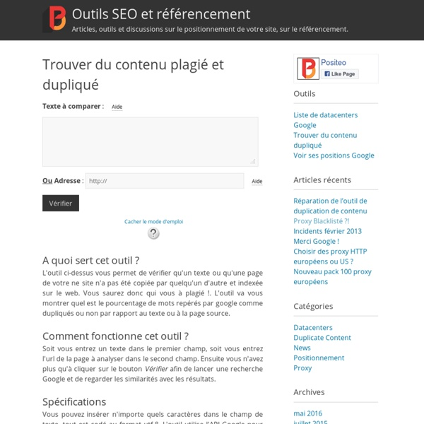 Trouver du contenu plagié et dupliquéOutils SEO et référencement