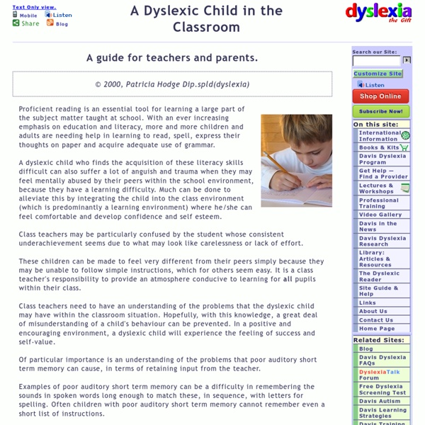 Helping dyslexic children within the classroom.