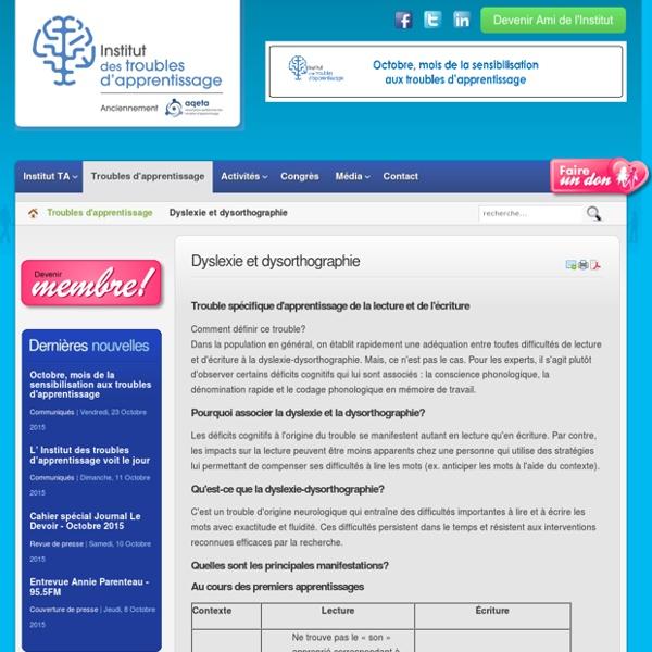 Dyslexie et dysorthographie