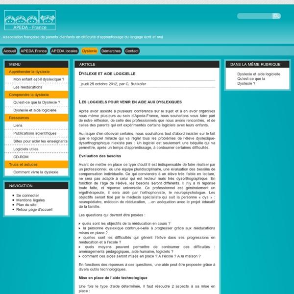 Dyslexie et aide logicielle - Apeda France