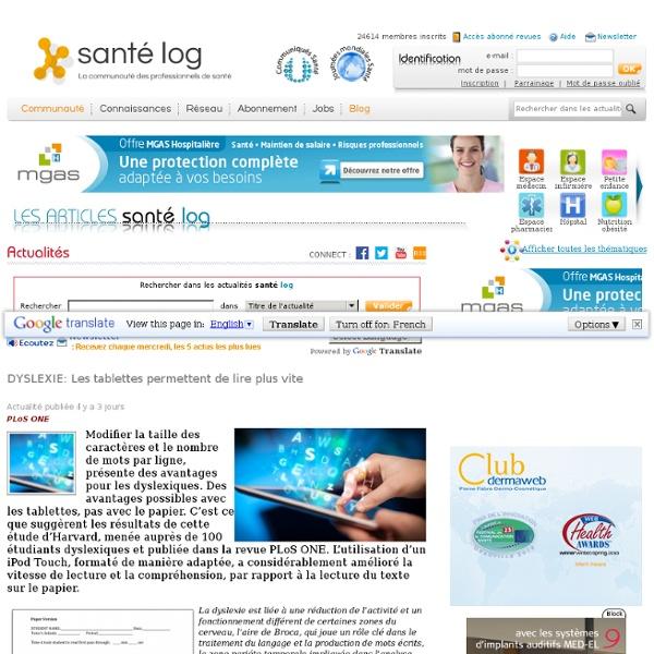 DYSLEXIE: Les tablettes permettent de lire plus vite