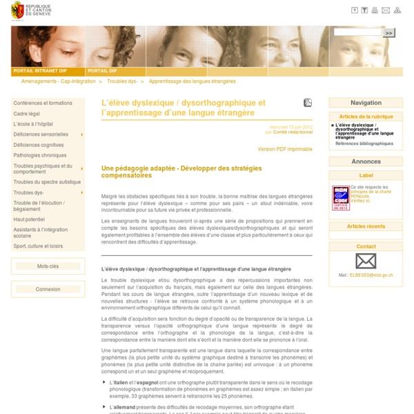 L'élève dyslexique / dysorthographique et l'apprentissage d'une langue étrangère - Aménagements - Cap-Intégration