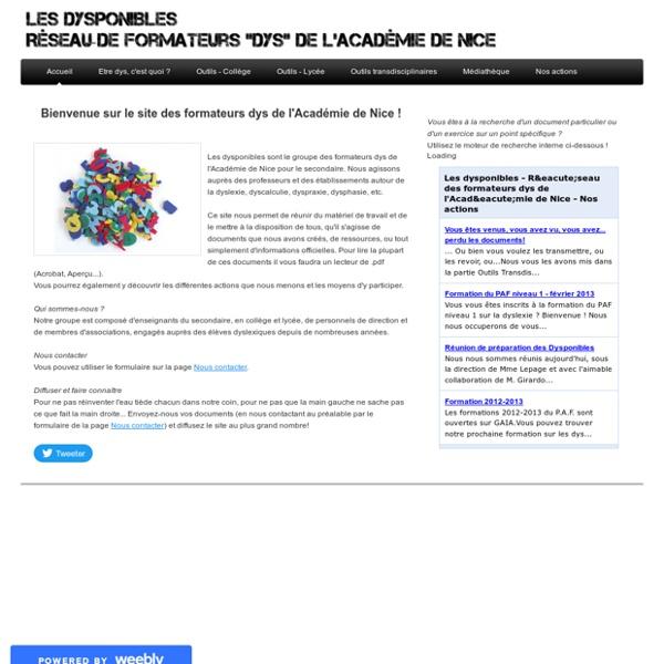 Les dysponibles - Réseau des formateurs dys de l'Académie de Nice - Accueil