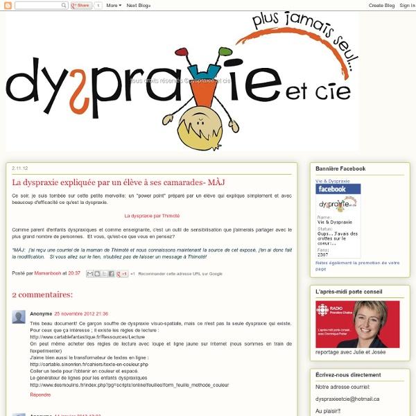 La dyspraxie expliquée par un élève à ses camarades