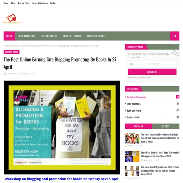 The Best Online Earning Site Blogging Promoting By Books In 27 April