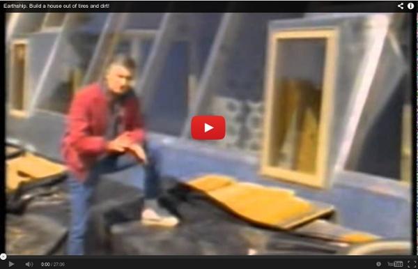 Actor Dennis Weaver building an Earthship