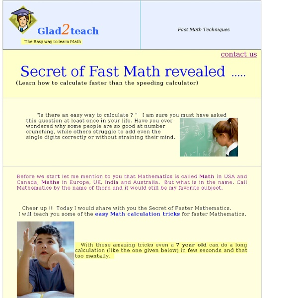 30 fast mental math Tricks : EasyCal Secrets of Mental Math techniques