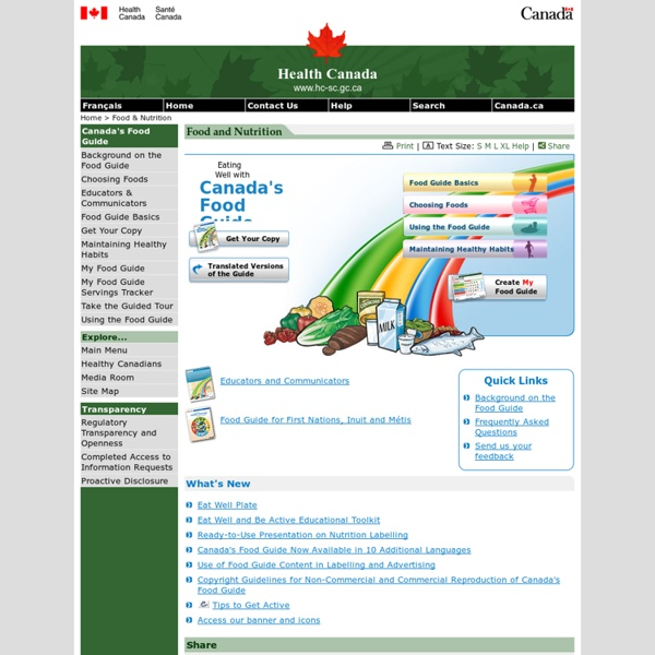 Eating Well with Canada's Food Guide - Main Page