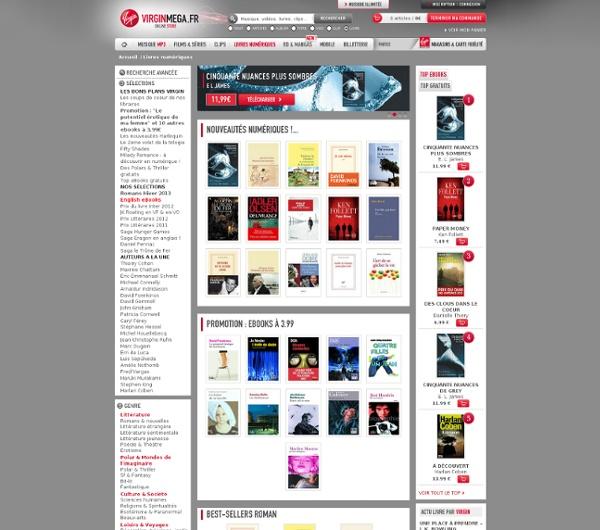 150 000 Ebooks gratuits ou à partir de 0,99€ à télécharger sur Virgin Mega - achat de livres en ligne