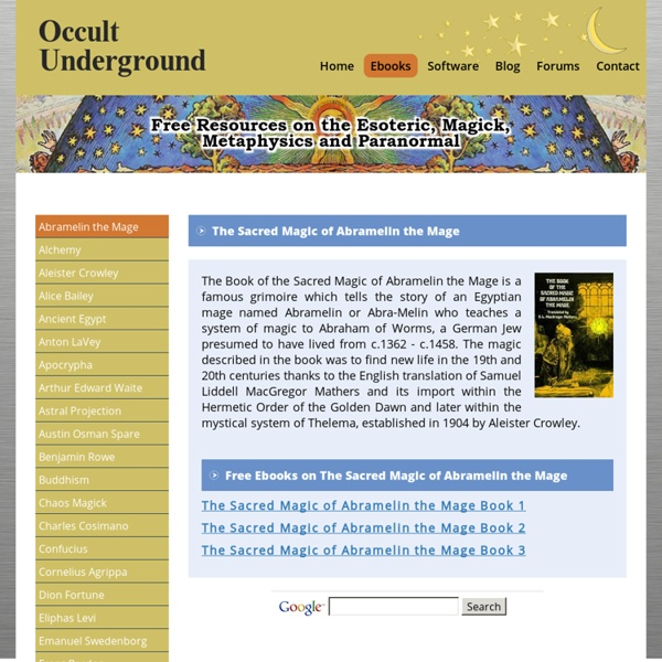Free Ebooks on The Sacred Magic of Abramelin the Mage