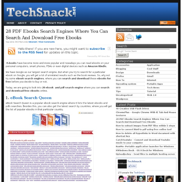28 PDF Ebooks Search Engines Where You Can Search And Download Free Ebooks