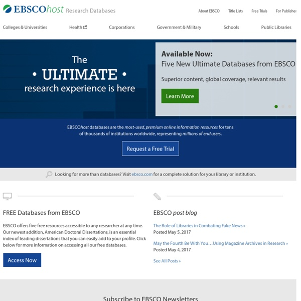 EBSCOhost Online Research Databases
