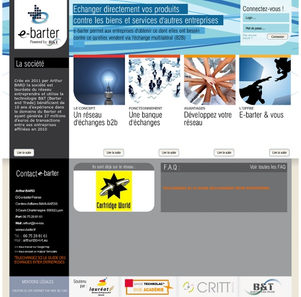Presentation - e-barter - A CHAMBERY Barter and Trade Exchange