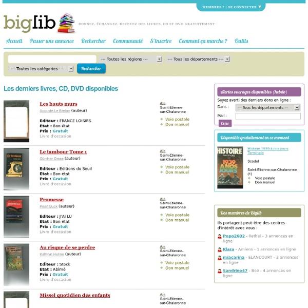 Biglib - dons et échanges de livres gratuits d'occasion