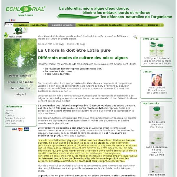 Différents modes de culture des micro algues