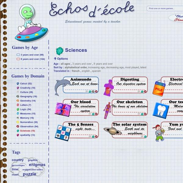 Echos d'école - jeux éducatifs - liste des jeux