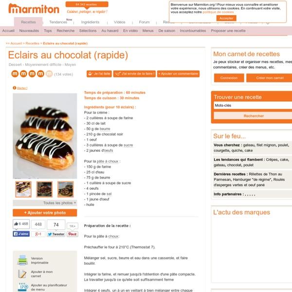 Eclairs au chocolat (rapide) : Recette d'Eclairs au chocolat (rapide)