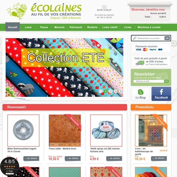 Ecolaines - Rennes, vente en ligne de Laine, Tissus, Mercerie, Patchwork, Broderie, machines à coudre Bernina - Ecolaines