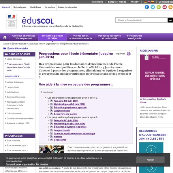 École élémentaire - Progressions pour l'école élémentaire (jusqu'en juin 2016)
